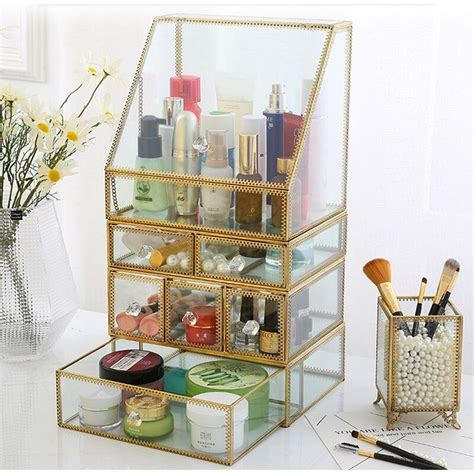 Condon Glass with Brass Makeup Organizer