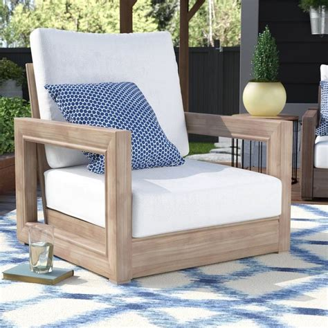 Constance Teak Outdoor Patio Furniture Club Chair with Cushions
