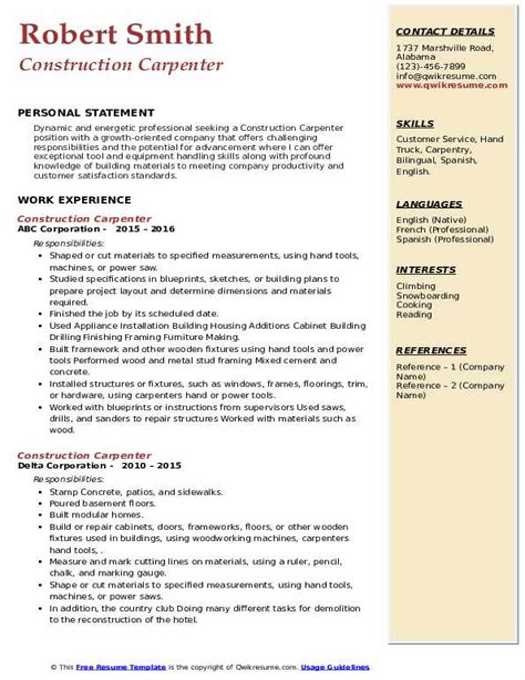 Sample Resume Union Carpenter Construction Carpenter Resume Sample