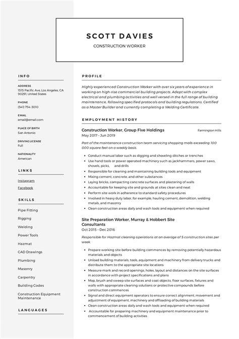 Construction Resume Sample Simple Resume Template Vol2