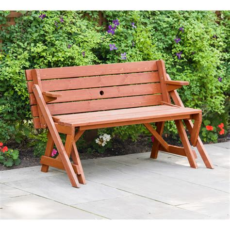 Convertible bench to picnic table Image