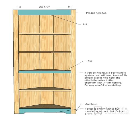 Corner Bookshelf Building Plans