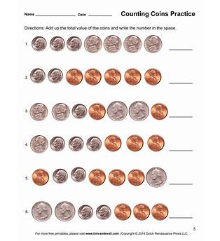 Counting Coin Worksheets