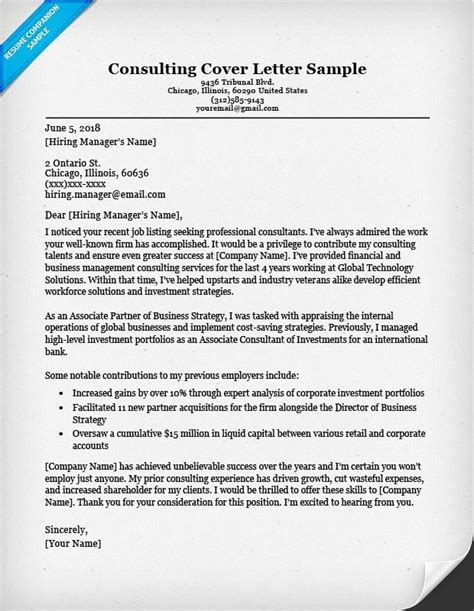 Cover Letter Examples For Management Consulting | Nursing ...