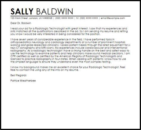 Sample Cover Letter For X Ray Technologist Cover Letter Quality