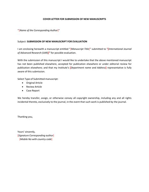 Cover Letter Peer Review Journal Submission | Management ...