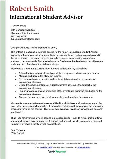 International Student Advisor Job Description Are You Looking For Sample Academic Cover Letter