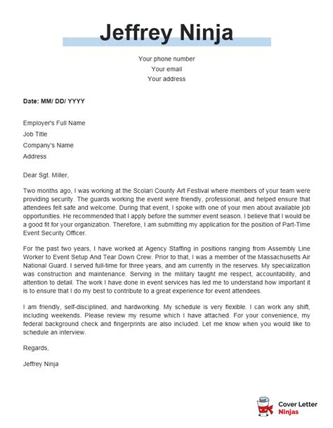 Cover Letter Examples Security Guard   Sample Resume For ...