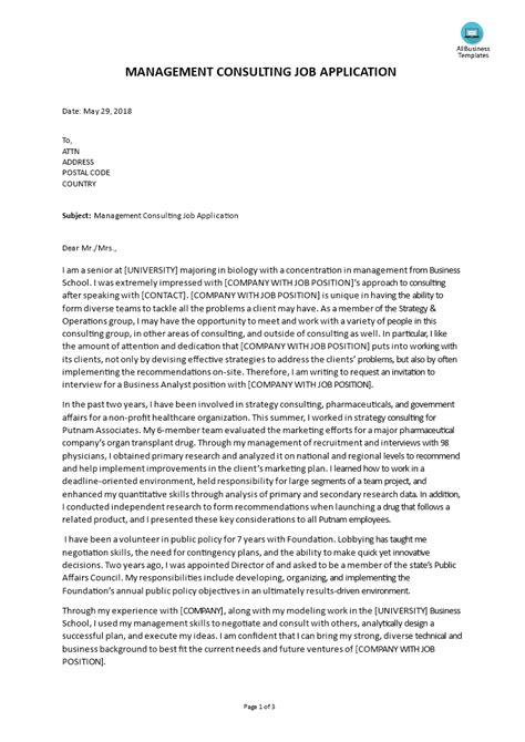 Cover Letter Management Consulting Internship | Resume For ...