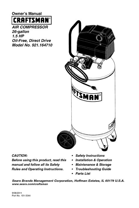 craftsman 1.5 hp air compressor pdf manual