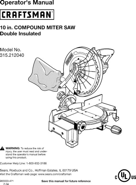 craftsman 10 inch compound miter saw manual pdf manual