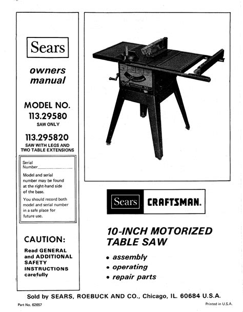 craftsman 10 inch table saw with leg set pdf manual