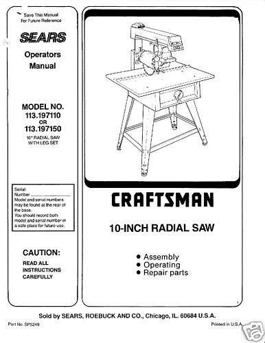 craftsman 10 radial arm saw pdf manual