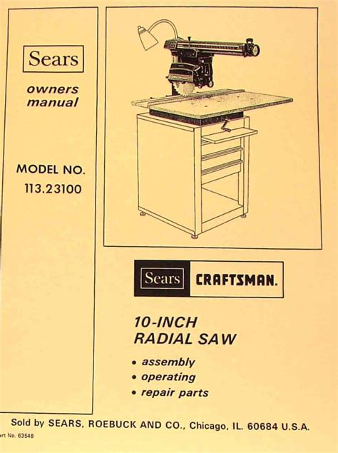 craftsman professional 10 inch radial arm saw pdf manual
