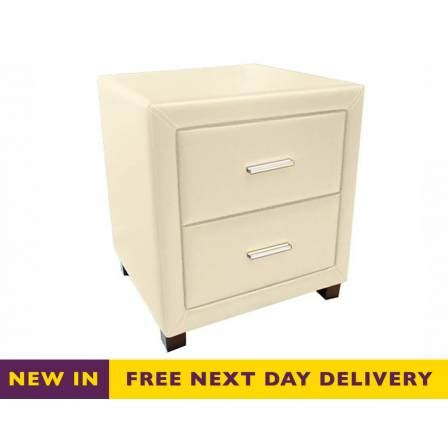 cream leather bedside cabinets
