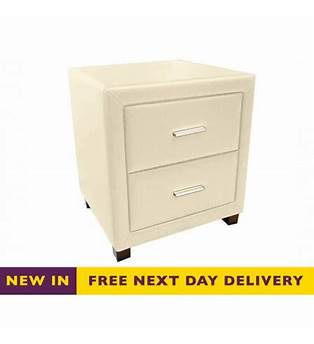 Cream Faux Leather Bedside Cabinets