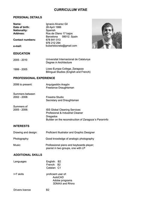 Curriculum Vitae Ejemplos Objetivo Profesional Harrison