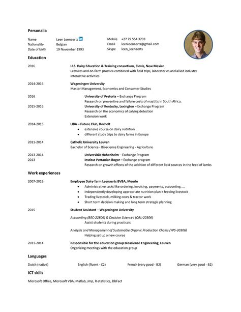 Curriculum Vitae Examples In Afrikaans Sample Visa Invitation