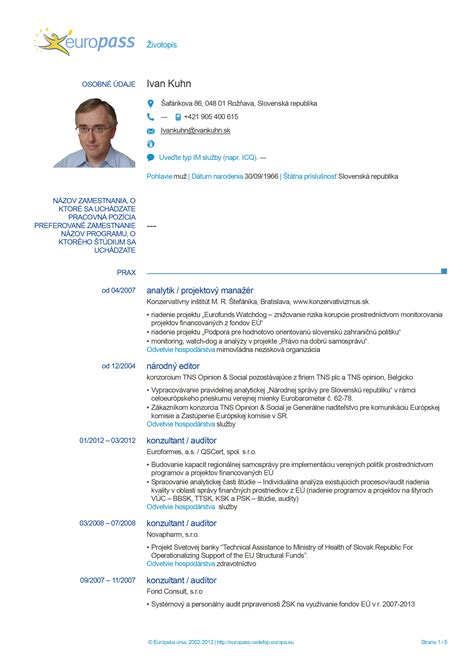 Curriculum Vitae Europass Slovak Letter Of Intent In Spanish