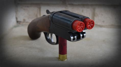 Cut Down Double Barrel Shotgun With Shells Sticking Out