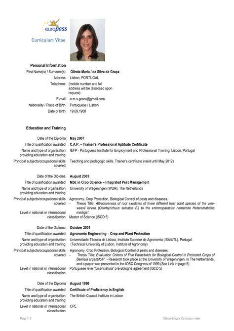 Cv Model European Completat Download Resume Template