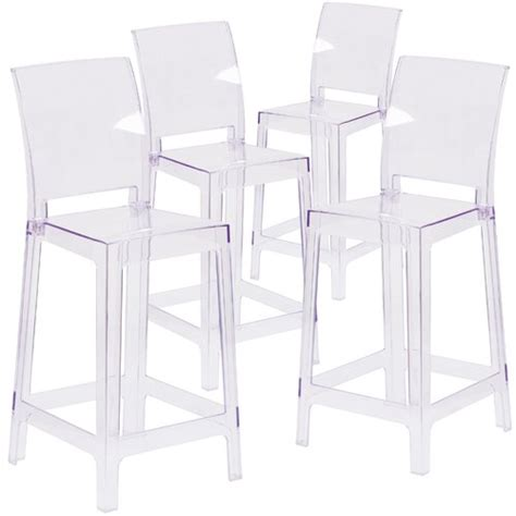 Darchelle Bar Stool with Square Back (Set of 4)