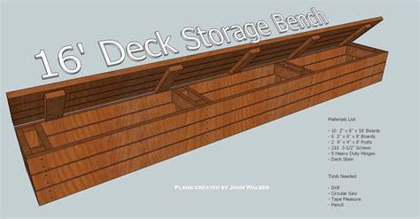 Deck storage bench plans Image