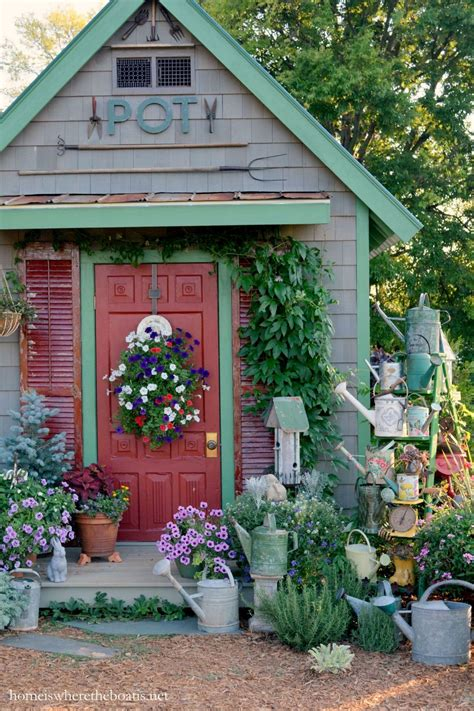 Decorated garden sheds Image