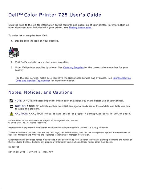dell 725 printer driver mac pdf manual