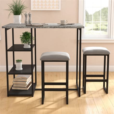 Denham 3 Piece Gray Pub Table Set