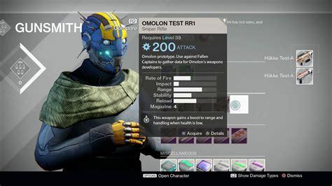 Destiny Gunsmith Levels