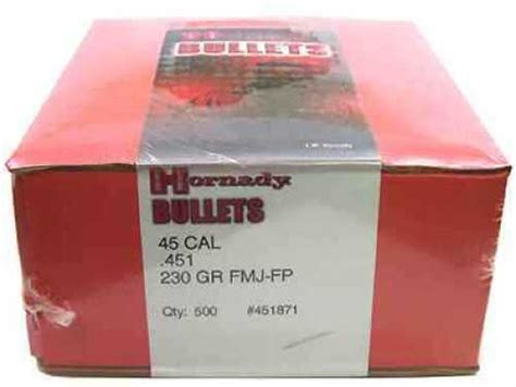 Dimensions Hornady 230 Gr Fmj Fp And Xtp Bullets