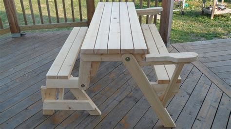 diy convertible picnic table that folds into bench seats Image