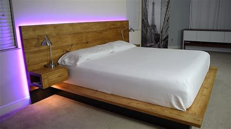 diy platform bed with floating night stands plans available Image