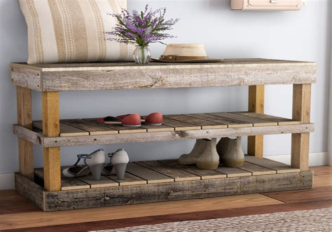 Diy bench with shoe storage Image