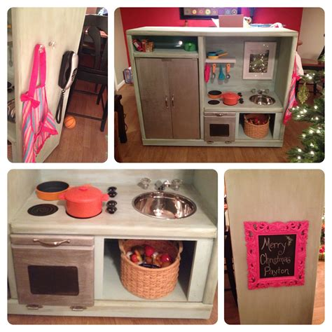 Diy entertainment center into play kitchen Image