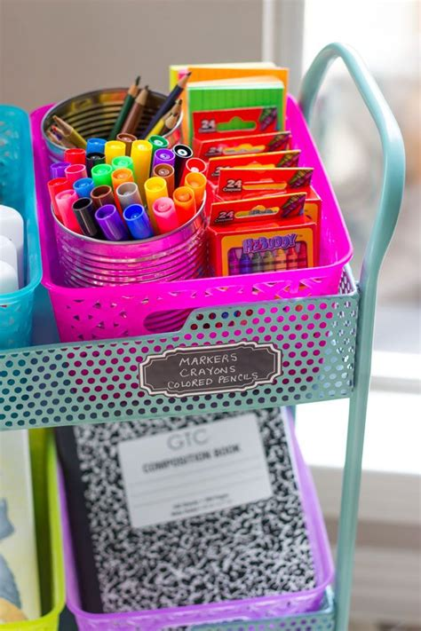 Diy home school art supply station Image