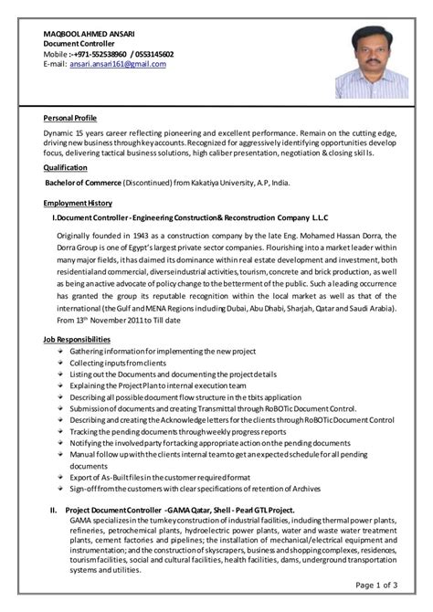 Controller Resume   Document Controller Resume Samples Resume To Work In Retail