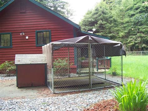 Dog house attached to house Image