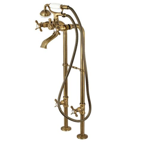 Double Handle Floor Mounted Freestanding Tub Filler with Supply Line