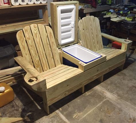 Double adirondack chair with cooler plans Image