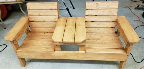 Double chair bench with table plans Image