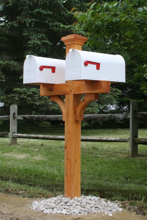 Double mailbox post wood Image