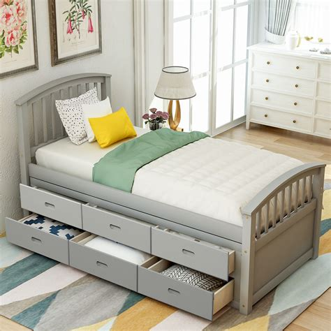 Double platform bed with storage Image