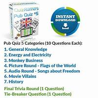 Coupon for downloadable trivia night pub quiz kit