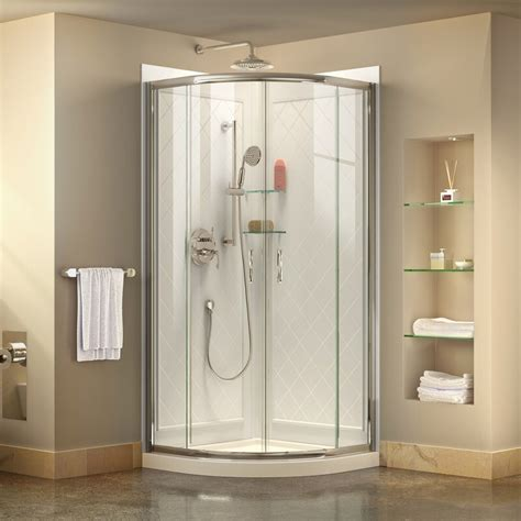 "DreamLine Prime 33"" x 76.75"" Round Sliding Shower Enclosure with Base Included"