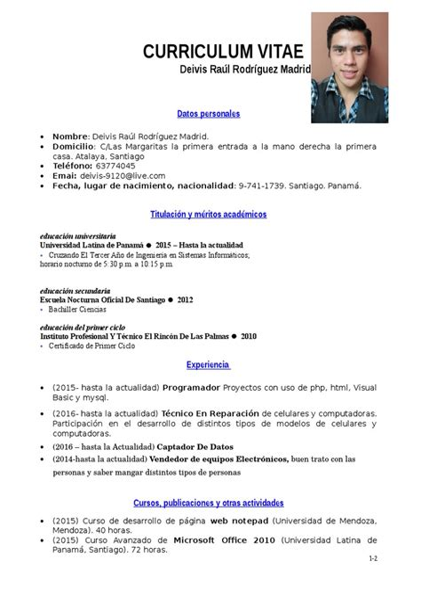 Ejemplos De Curriculum Vitae No Documentado Simple Class