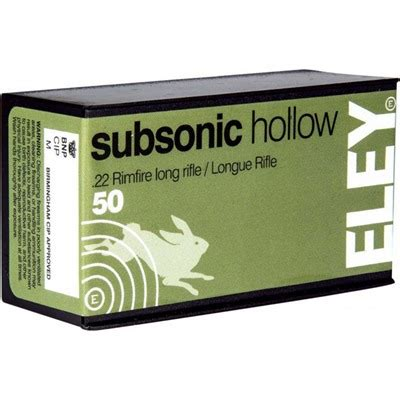 Eley Americas Subsonic Hollow Ammo 22 Long Rifle 40gr Lead Hollow Point 22 Long Rifle 40gr Subsonic Lead Hollow Point 500brick