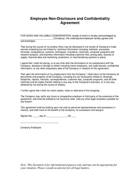 Employee Confidentiality Agreement Template Free Visa