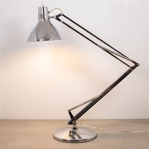 Endearing Luxo Lamp On Vintage Articulated Chrome Desk